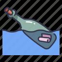 bottle, letter, message, ocean, paper, sea, water icon
