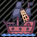 flag, shippirate, sea, adventure, ocean, old, boat