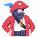 beard, captain, character, hat, people, pirate, vintage