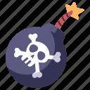 weapon, explosion, danger, fire, bone, skull