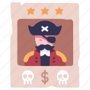 vintage, pirate, poster, reward, outlaw, wanted, criminal