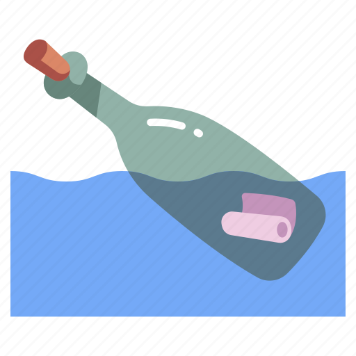 Bottle, letter, message, ocean, paper, sea, water icon - Download on Iconfinder