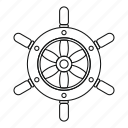 line, outline, ship, ship wheel, steering, thin, wheel icon