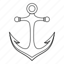 anchor, antique, equipment, line, nautical, outline, thin icon