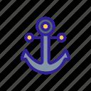 anchor, contour, marine, nautical, pirate, silhouette icon