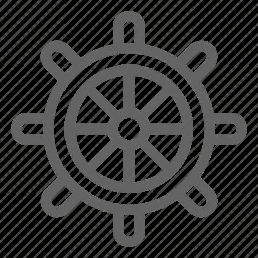 captain, helm, ship, wheel icon