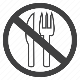 cutlery, fork, knife, no, prohibited, restraurant, restricted icon