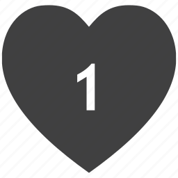 concept, heart, love, number, one icon