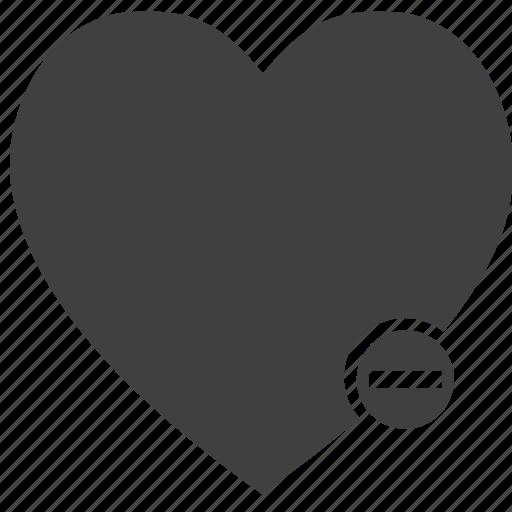 concept, heart, love, minus, subtract icon