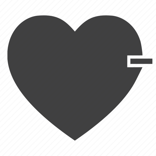 conceptual, heart, love, minus, subtract icon