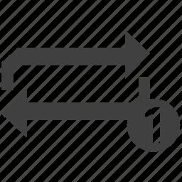 arrows, repeat, repeat one icon