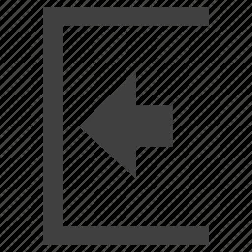 arrow, exit, logout, outside icon