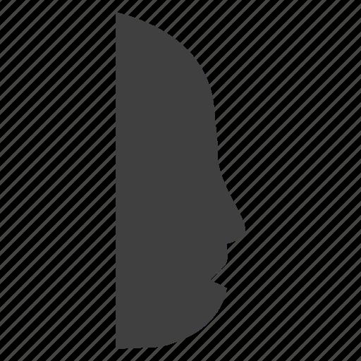 face, head, silhouette, slowly, speak icon