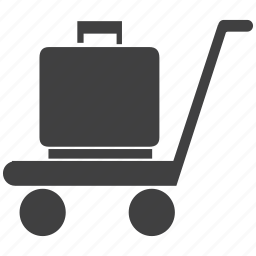 briefcase, cart, handle, luggage, movable, push, shopping, trolley, wheels icon