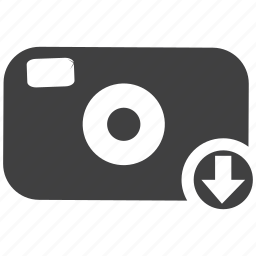 camera, click, down arrow, download, snap, snapshot, technology icon