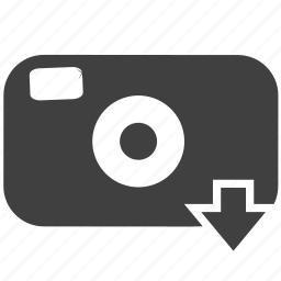 arrow, camera, click, down arrow, download, snap, snapshot, technology icon