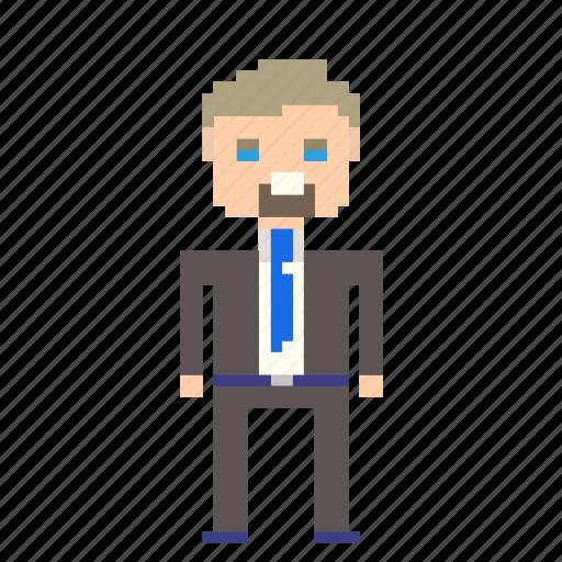 business, businessman, male, man, person, pixels, suit, user icon