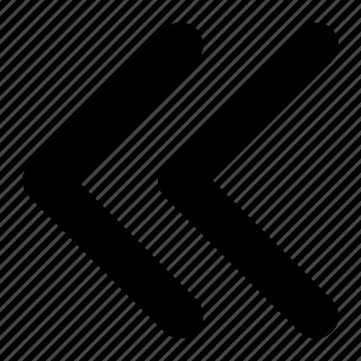 arrow, double, left, previous icon