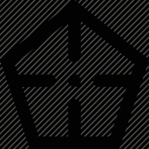 area, area of interest, focus, pentagon, target icon