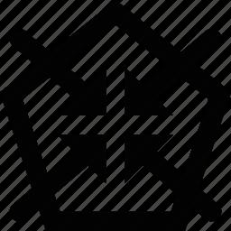area, enter, inside, pentagon icon