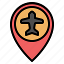 airport, gps, location, map, pin, placeholder, pointer icon