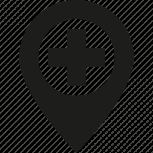add, big, map, pin icon