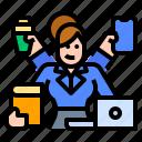 coordinator, multiple, scenarios, worker, working icon