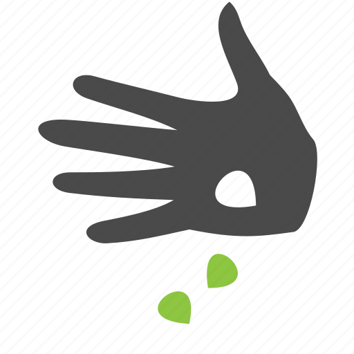 finger, green, hand, nature, plant, seed icon