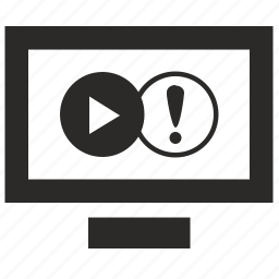 display, film, movie, notice, play, player, tv icon