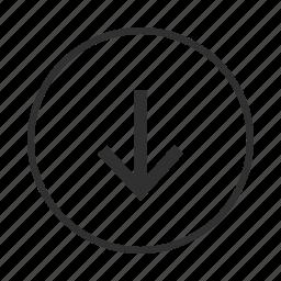 arrow, control, down, download, save icon