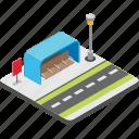 bus interchange, bus stand, bus station, bus stop, bus terminus icon