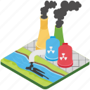chemical factory, factory pollution, global warming, industrial pollution, smokestack icon