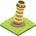 famous places, italy tower, leaning tower, monument, pisa tower icon