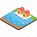 beach house, countryside, resort, river house, sea house icon