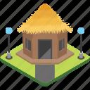 villa, cottage, rural house, shack, hut