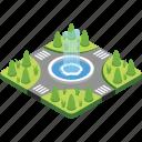 fountain, garden, landscape, lawn, park icon