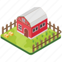 country house, countryside, farmhouse, rural house, silo icon