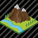 hilly area, landscape, mountain peak, mountain range, mountains icon