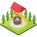 agriculture, groundwater, stone well, water storage, water well icon