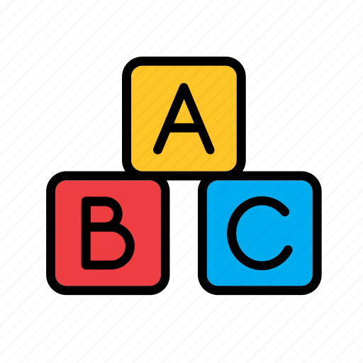 abc, cube, game, piece, plaything, toy, wooden icon