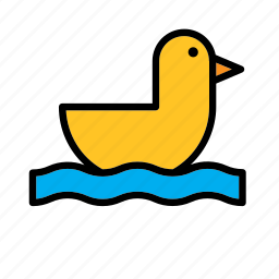 animal, bath, duck, game, plaything, toy, yellow icon