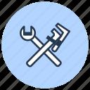 adjustable, plumbing, tools, wrench icon