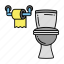 bathroom, commode, restroom, tissue paper, toilet, toilet tissue icon