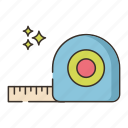 measuring, plumbing, tape, tool icon