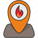 fire, map, place, poi, pointer icon