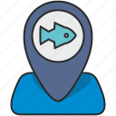 fish, fishing, place, poi, pointer, sea, water icon