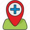 clinic, geo, hospital, map, plus, poi, pointer icon