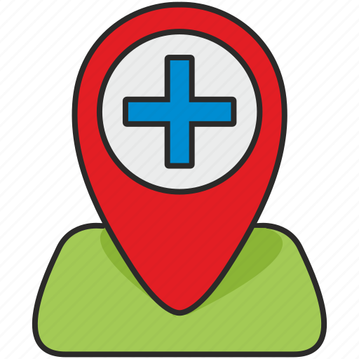 clinic, geo, hospital, map, plus, poi, pointer icon