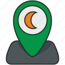 green, moon, place, poin, pointer, view icon