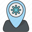 place, poi, pointer, snow, weather icon